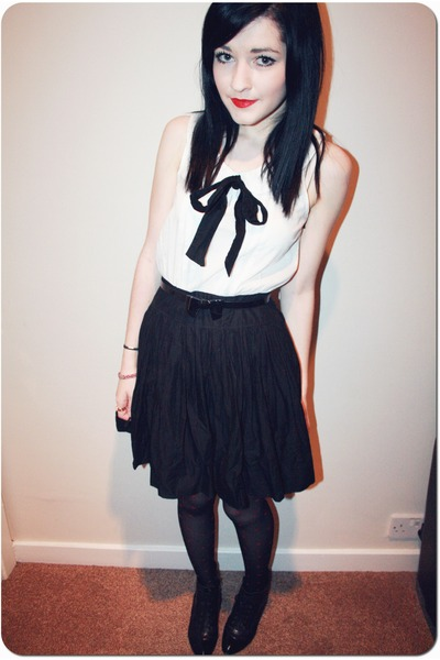 white H&M cardigan - black Office boots - black Primark dress