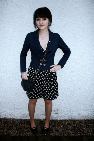 H&M blazer - vintage dress - Rocketdog shoes - vintage purse