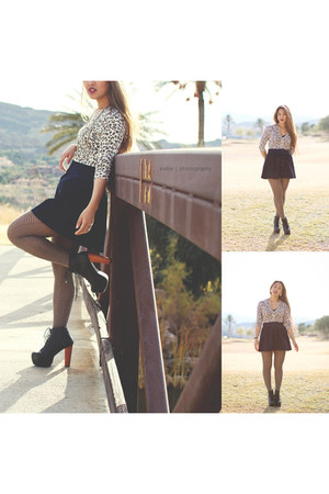 Forever 21 tights - Jeffrey Campbell shoes - Forever 21 skirt