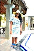 eggshell Bossini skirt - beige hat - light blue River Island top - blue sandals