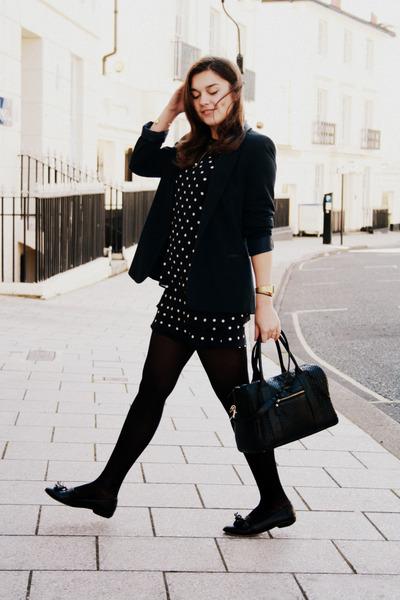 black vintage dress - navy Primark blazer - black Primark bag