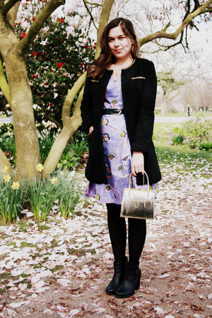 light purple People Tree dress - black TK Maxx coat - gold vintage bag