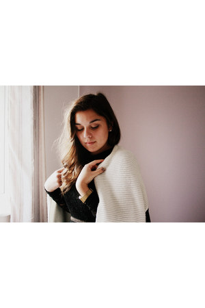 black Topshop dress - white Primark cardigan