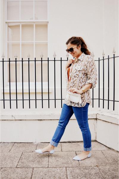 blue Cheap Monday jeans - cream vintage shirt - tawny H&M vest