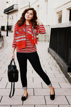 red Seasalt Cornwall top - black TK Maxx coat - navy Zara jeans