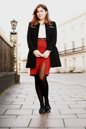 red Primark skirt - black TK Maxx coat - white All Saints shirt