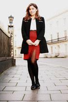 red Primark skirt - black TK Maxx coat - white All Saints shirt