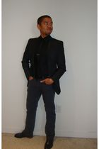 gray Zara blazer - black H&M shirt - silver Uniqlo pants - black Zara tie - blac