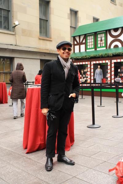 black chinook jacket - EDUN pants - black Fred Perry hat - silver Franceschetti