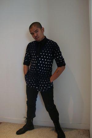 blue Sunny Sports cardigan - black H&M shirt - black Zara tie - black april 77 p