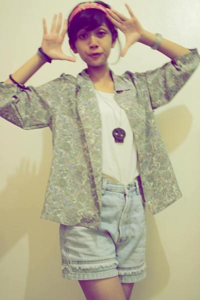 scarf - top - blazer - necklace - jeans
