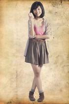 blouse - top - skirt - socks - boots