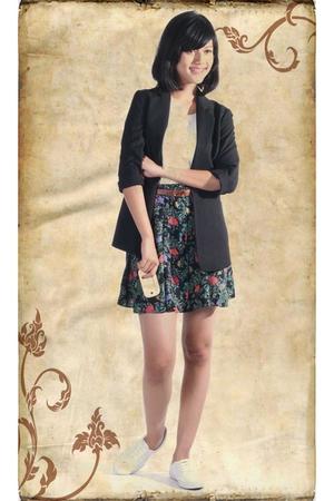 Zara blazer - Topshop t-shirt - Topshop skirt - belt - shoes