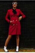 red Dirty Vintage coat - white Forever 21 socks