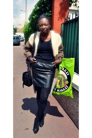black leather my mom skirt