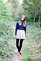 navy H&M sweater - beige American Apparel skirt
