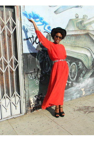 black cowboy Pendleton hat - red chiffon maxi DisciplesOf dress