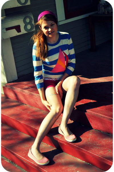 pink Keds shoes - blue Forever 21 sweater - pink Target shorts