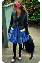 blue Charlotte Russe dress - green Forever 21 coat - pink
