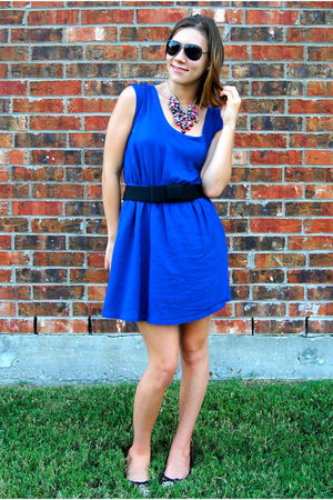 blue modcloth dress - black Forever 21 belt - Steve Madden shoes