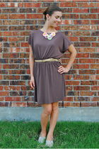 brown Ruche dress - beige Forever 21 belt - beige Walmart shoes