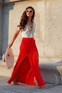 Red-maxi-skirt-bcb-skirt-za-blouse-nude-pump-christian-louboutin-pumps
