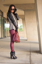 ruby red leather H&M pants - black tweed Zara blazer - black leather asos gloves