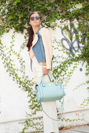camel leather jacket Oasis jacket - light blue bag asos bag