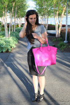 hot pink tote milly bag - black booties shoemint shoes