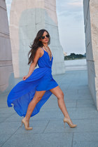 blue hi lo dress Rory Beca dress - beige nude pump Christian Louboutin heels