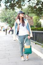 green cross body GiGi New York bag - olive green denim J Brand jeans