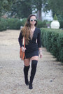 Black-ted-and-muffy-boots-black-lace-up-romwe-dress