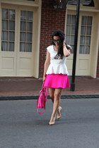 white peplum Rebecca Taylor top - hot pink bag milly bag