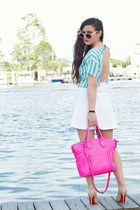 white mini Express skirt - hot pink satchel milly bag