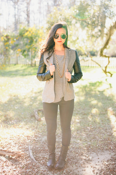 dark gray blazer Zara blazer - black boots Jessica Simpson boots