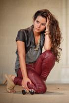 IZAVEL Leather Vest & Leather Skinny Pants