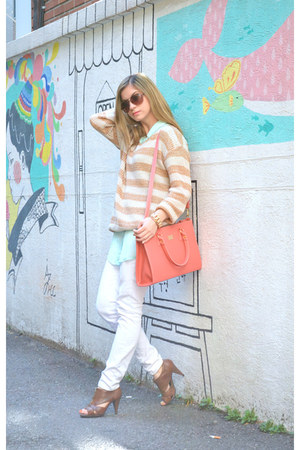 knit Stripe Sweater sweater - white top10 White Pants pants