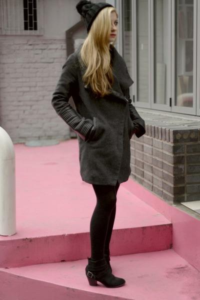 charcoal gray Bershka coat - brick red Bershka shirt - black Bershka skirt