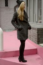 charcoal gray Bershka coat - brick red Bershka shirt - black Bershka skirt