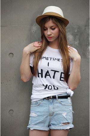 cotton korean brand shirt - Uniqlo hat - denim shorts korean brand shorts