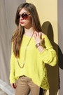 Yellow-knit-forever-21-sweater-camel-pants-forever-21-pants