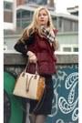Sweater-dress-bershka-dress-faux-leather-aldo-purse-vest-mixxo-vest
