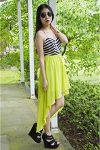 lime green high-low dress
