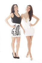 black embellished DivaNYcom dress - white peplum DivaNYcom dress