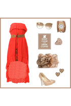 red hi-low dress - ivory hi-low dress