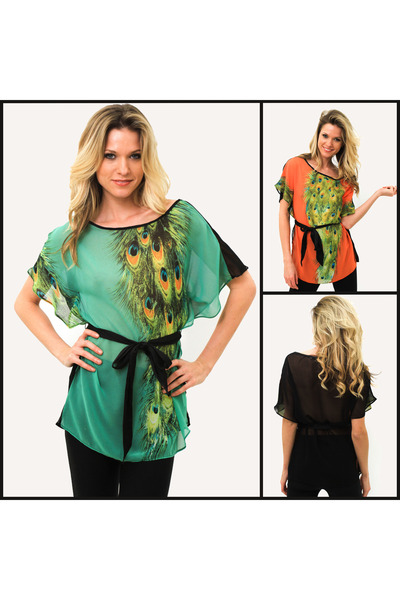 green top blouse - orange top blouse