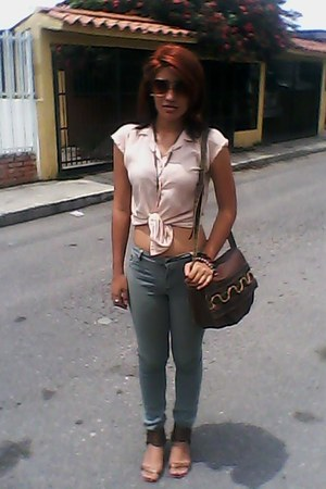 leather bag unknown bag - jeans - blouse - sandals - glasses