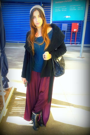 Zara skirt - DIY boots - Zara coat - Zara shirt