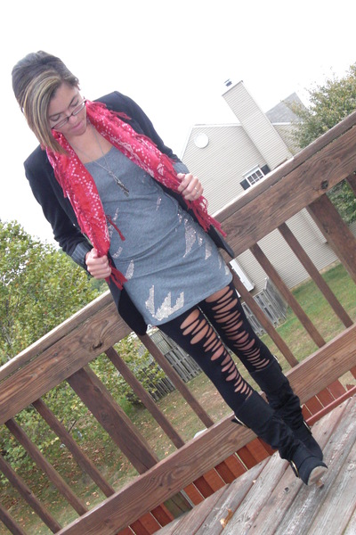 Express blazer - Urban Outfitters scarf - Express top - boots - Forever 21 tight