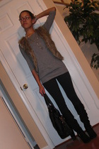 H&M top - TJ Maxx vest - Express leggings - boots - Zara purse